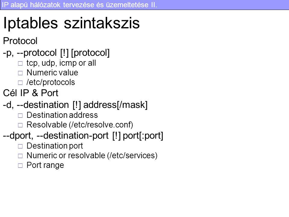 Iptables szintakszis Protocol -p, --protocol [!] [protocol]